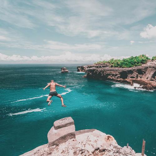 Jump Cliff in Blue Lagoon Ceningan